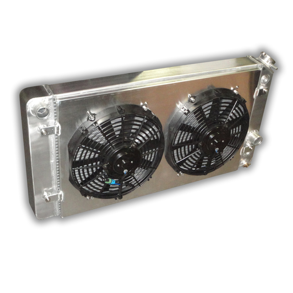 """Chevy S10 1995 - 2004 Aluminum HD Radiator - 2-rows of 1.0"""" Cooling Tubes - Dual Low Profile Fans"""