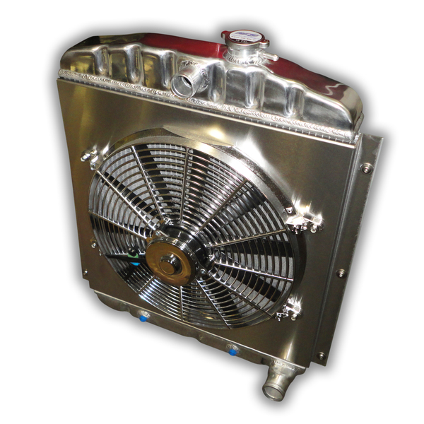 1948 - 1954 Chevy Truck Aluminum Radiator - 3300 CFM Chrome Fan And Shroud
