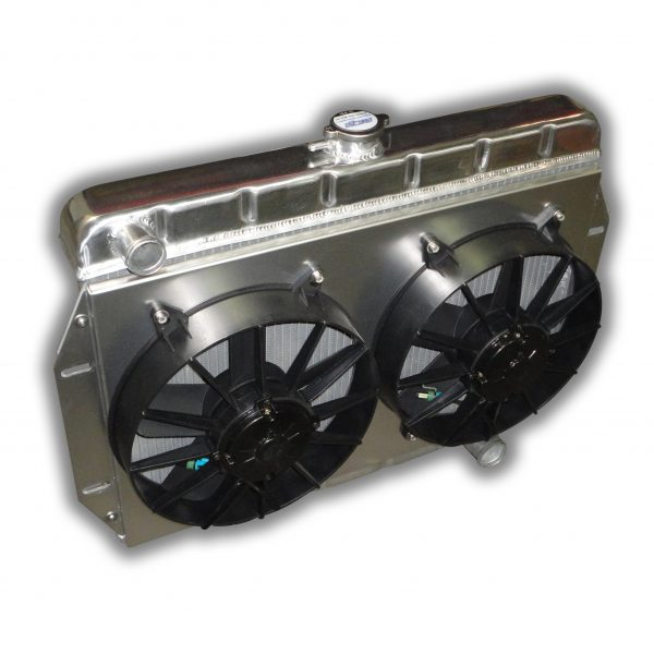 Jeep CJ 1972 - 1986 Aluminum Radiator For Small Block Chevy Conversion - DUAL FANS 3000 CFM TOTAL