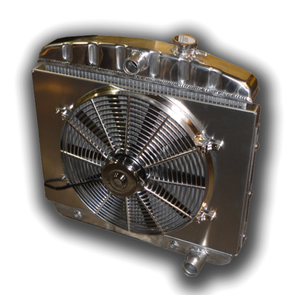 1955 - 1956 Chevy 6 Cylinder Mount With 3300 CFM Chrome Electric Cooling Fan